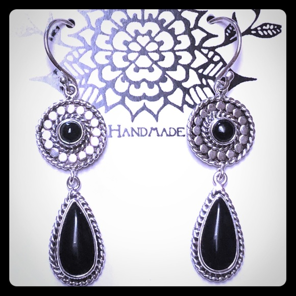 Casey Keith Design Jewelry - Onyx & Sterling Dangle Earrings